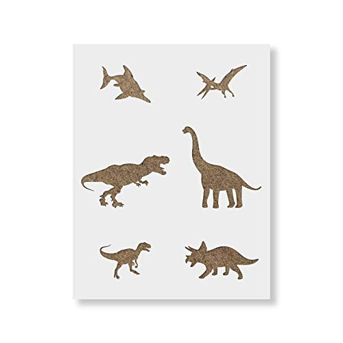 Dinosaurs Stencil for Walls and Crafts - Reusable Stencils of Dinosaurs for Painting in Small & Large Sizes - Made in USA