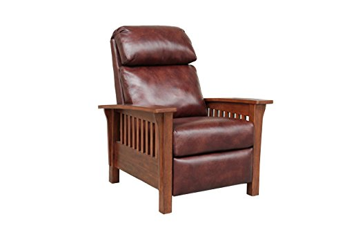 BarcaLounger Mission 7-3323 (Craftsman) All Leather Push Back Manual Recliner Chair - 5702-87 Wenlock Fudge All Leather