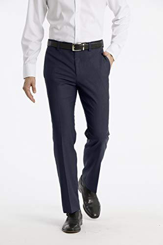 Calvin Klein Men's Modern Fit Performance Flat Front Dress Pant, Navy, 30W x - Blazer Wool Calvin