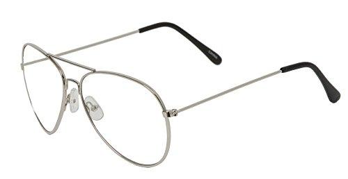 Gravity's Non-Prescription Premium Aviator Clear Lens Glasses, Silver]()