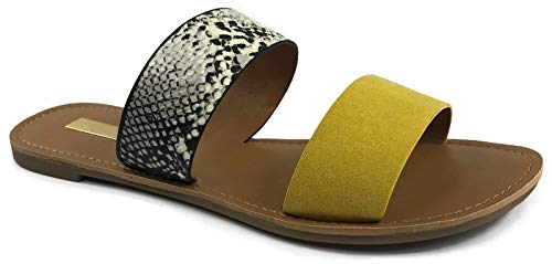 The Collection Annie Womens Double Strap Sandal Flat Slip On Slide, Snake Yellow, - Annie Print Sandals