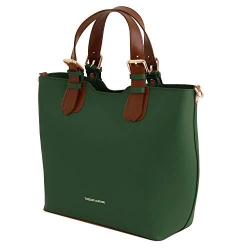 Leather mano a in TL Viola TL141696 Borsa pelle Saffiano Bag Tuscany Verde XFwRSqR
