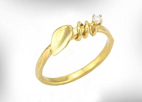 Gold and Diamond Engagement Ring, Solitaire / semi precious stones, Leaf ring, Customized diamond crat,Stone, gold color and Karat (14K/18K) (14 Karat Gold Vs 18 Karat Gold)