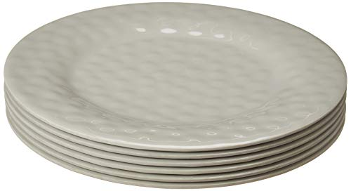 Bayview Essentials- Unbreakable Melamine Daily Plates- Set of 6 (Dinner Plate, Gray)