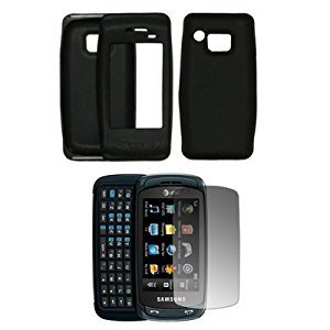 (Black Silicone Gel Skin Cover Case + LCD Screen Protector for Samsung Impression A877)