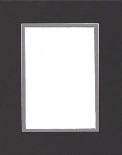 Pack of (2) 24x36 Double Acid Free White Core Picture Mats Cut for 20x30 Pictures in Black and Ocean Grey