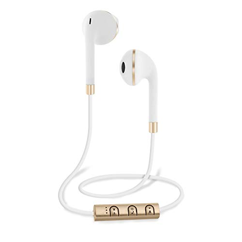 Sentry Bluetooth Wireless Stereo Earbuds with Mic - White with Gold