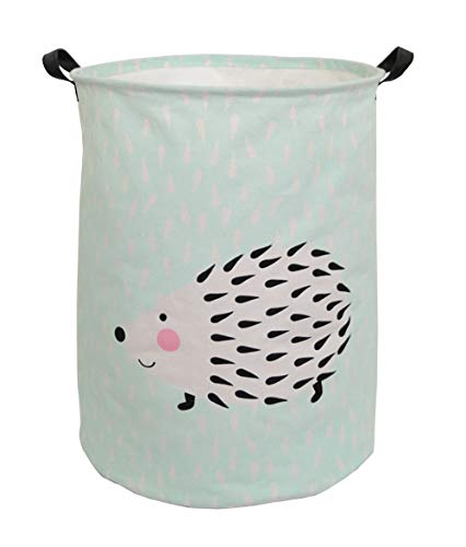CLOCOR Large Storage Basket,Canvas Fabric Waterproof Storage Bin Collapsible Laundry Hamper for Home,Kids,Toy Organizer (Hedgehog)