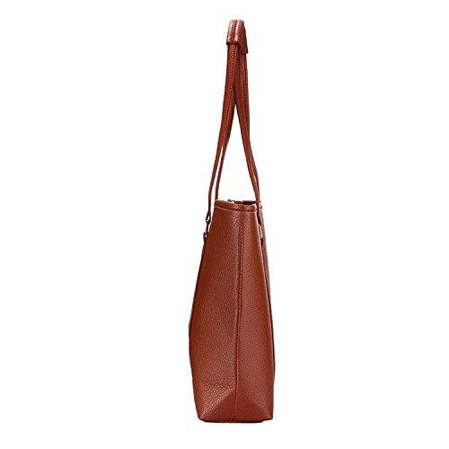 Bolso de hombro - TOOGOO(R) Bolso simple de viaje trabajo Bolso en relieve informal de mujeres Bolso de hombro de moda occidental (Marron)