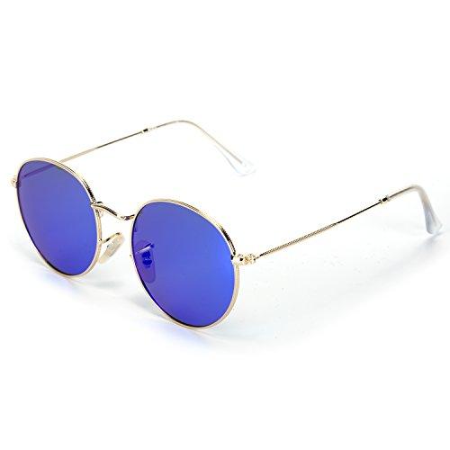 YJMILL New Color film Polarized Sunglasses Retro Pilots Riding Travel Sports Round Sunglasses Men And Women 3447-2 (blue, - De Armazones Lentes