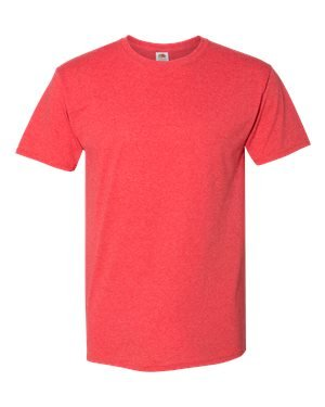 (Fruit of the Loom 5 oz. 100% Heavy Cotton HD T-Shirt (3931) Fiery Red Heather, S )