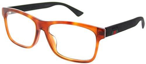 Gucci GG 0176O 003 Light Havana Plastic Rectangle Eyeglasses 56mm