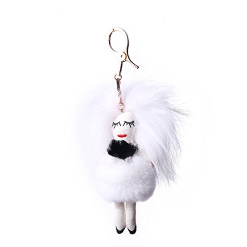 URSFUR Piel de zorro muñeca de muchacha de pelo largo bolsa de cadena dominante de coche de conejo blanco