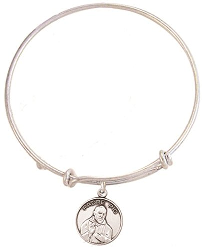 Silver Toned Base Bangle Bracelet with Pewter Saint Padre Pio Medal, 7 1/2 (Padre Pio Patron Saint)