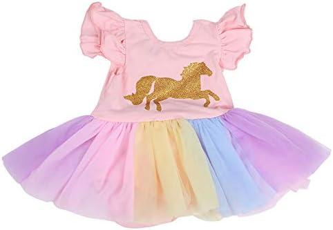 Vestido de bebé para niñas, tutú con volantes y estampado de ...