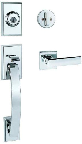 Kwikset Tavaris Single Cylinder Handleset w/Vedani Lever featuring SmartKey in Polished Chrome