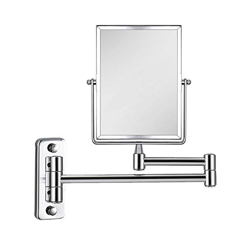 QiMH 3X Magnifying Wall Mounted Vanity Makeup Mirror | Rectangular 8x6 Inch with Extendable Arm | Polished Chrome Finish Double-Sided Swivel Mirror