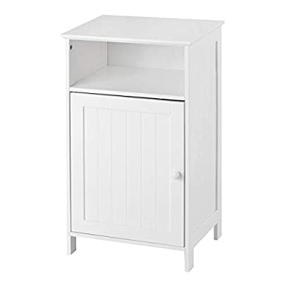 "Tangkula Bathroom Floor Storage Cabinet, Home Living Room Bedroom Sturdy Wooden Modern Side Cabinet, White (27.5"" with Door)"