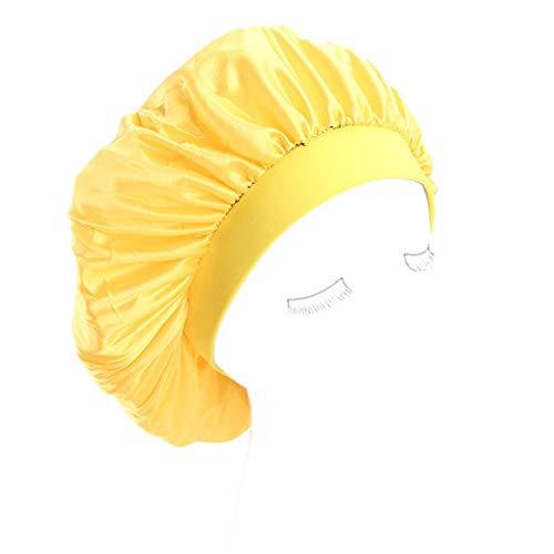 (Lukalook Womens Faux Silk Bonnet Cap Wide Elastic Band Solid Night Sleep Hat Wrap Pleated)