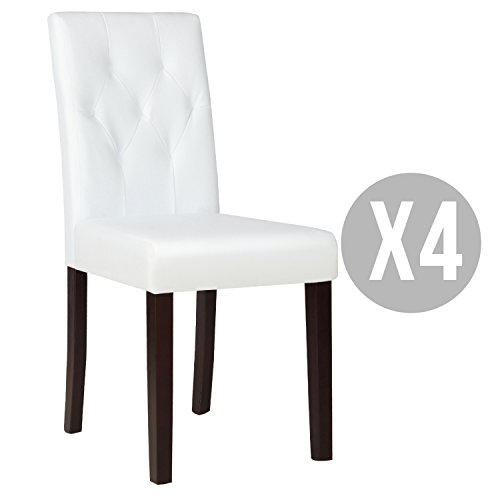 Kitchen Dinette Dining Room Chair Elegant Design Leather Backrest,Set of 4,Ivory White