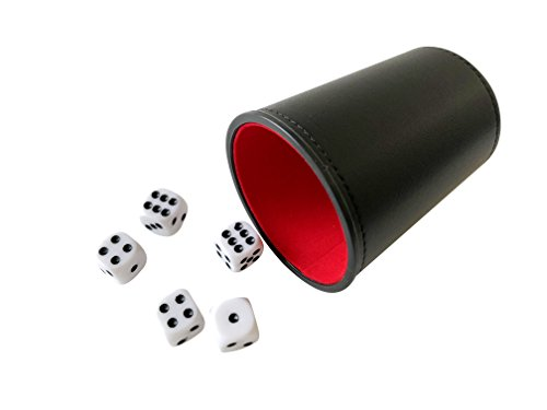 - YH Poker Felt Lined Professional Small Dice Cup with 5 Dice (red)