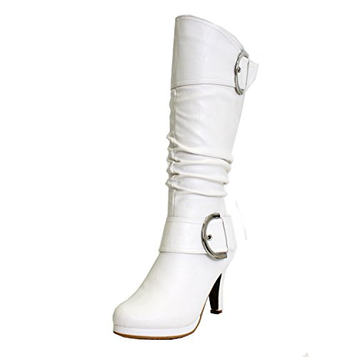 Boots White Heel (TOP Moda Womens Page-22 Knee High Round Toe Buckle Slouched Low Heel Boots, White, 9)
