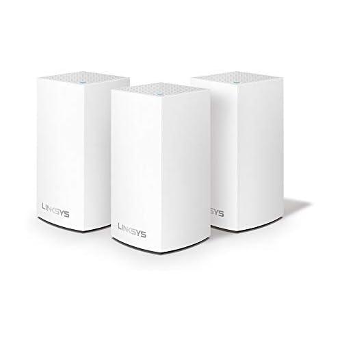 chollos oferta descuentos barato Linksys VLP0103 Sistema Velop WiFi mesh dual band para todo el hogar router extensor WiFi AC3600 sin interrupciones controles parentales hasta 400 m paquete de 3 nodos color blanco
