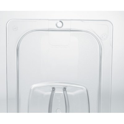 RCP108P23CLE - Rubbermaid Clear Cold Food Pan Cover with Peg Hole, 1/6 Size