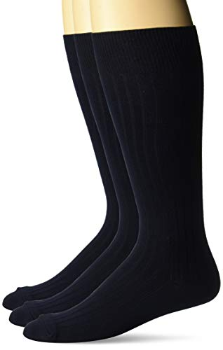 (BUTTONED DOWN Men's 3-Pack Premium Ribbed Soft Dress Socks, Navy, Shoe Size: 8-12)