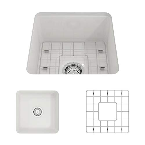 - BOCCHI 1359-001-0120 Sotto Undermount Fireclay 18 in. Single Bowl Kitchen Sink with Protective Bottom Grid and Strainer in White,