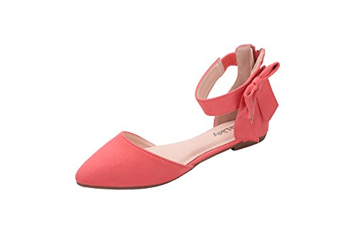Mila Lady Jocelyn Fashion New Ankle Strap with Bow Pointy Toe Woman s Fashion Flats, CORAL5.5 Ankle Tie Flats