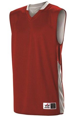 AllesonウルトラライトリバーシブルYouth Basketball Jersey Large スカーレット/ホワイト B076H7BXX1