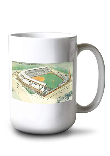 (Lantern Press Chicago, Illinois - Aerial View of Wrigley Field # 3 (15oz White Ceramic Mug))