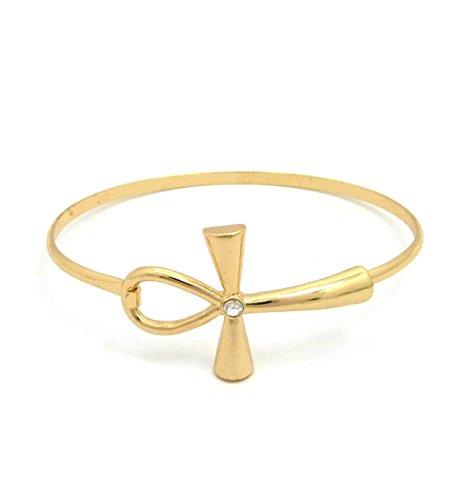 Women's Ankh Cross Piece Open Cuff Bangle Bracelet in Gold Tone