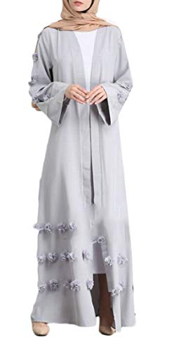 Applique Long East Waist High Loose Dress Robe Jaycargogo Middle Muslim Grey Womens wOA7t7