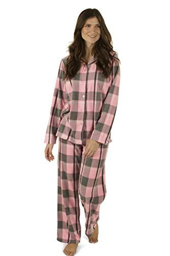 Pajamas Pink Cozy - Totally Pink Women's Warm Cozy Fleece Pajama Set (Small, Pink Plaids)