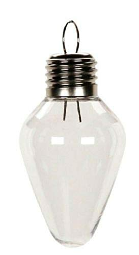 5 Clear Christmas Light Bulb Shaped Ornaments Fillable Crafting -