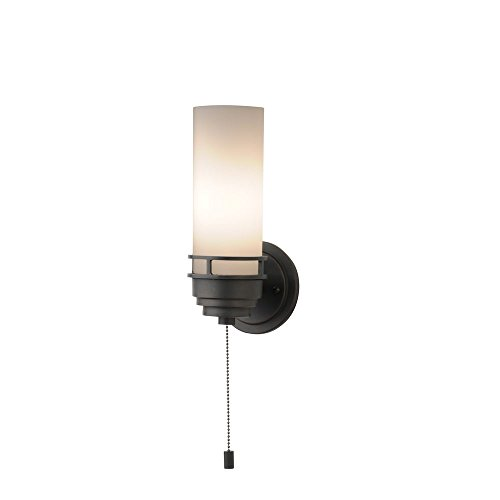 Contemporary Single-Light Sconce with Pull-Chain Switch in Bronze -