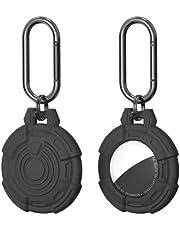 (2 stuks) Upgrade Case voor Airtag 2021, siliconen tracker houder met sleutelhanger draagbare protector cover voor Airtag gemakkelijk te bevestigen aan sleutels, rugzakken, Liner tassen (zwart)
