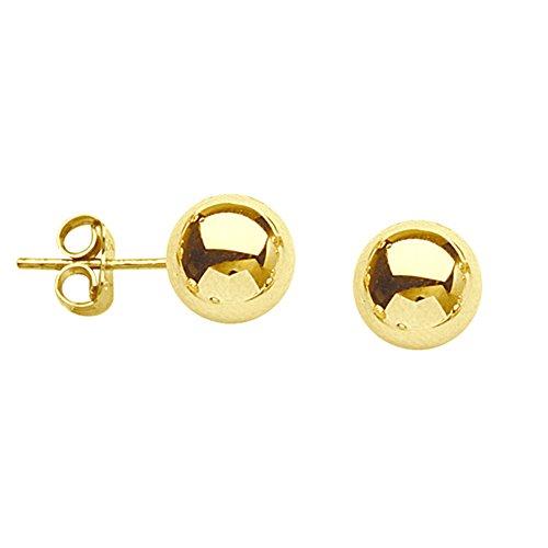 Ball Earrings, 6 Mm Ball Stud Earrings (18k Gold Ball Earrings)