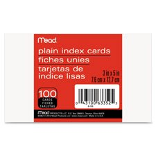 Index Cards, Ruled, 5''x8'', 100/PK, White, Sold as 1 Package, 100 Each per Package by Mead