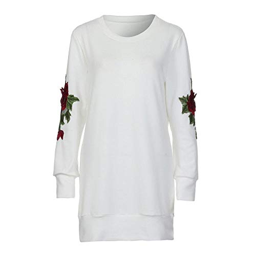 FUNIC Womens Shirt, Women Rose Embroidery Long Sleeve Long Sweatshirt Pullover Tops Blouse (L, White) by FUNIC (Image #4)