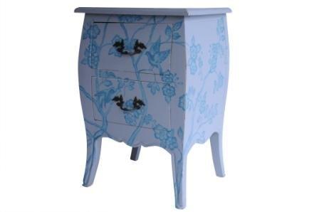 Chantal Nachttisch mit 2 Schubladen, massiv, Mahagoni, handgefertigt, handbemalt, Motiv Blüten, mit einzigartigem Design grau