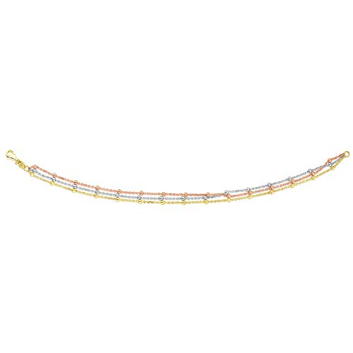 14k Yellow, White and Rose Gold Tri-Color Multi-Strand Bead Station Bracelet, 7.5 inches