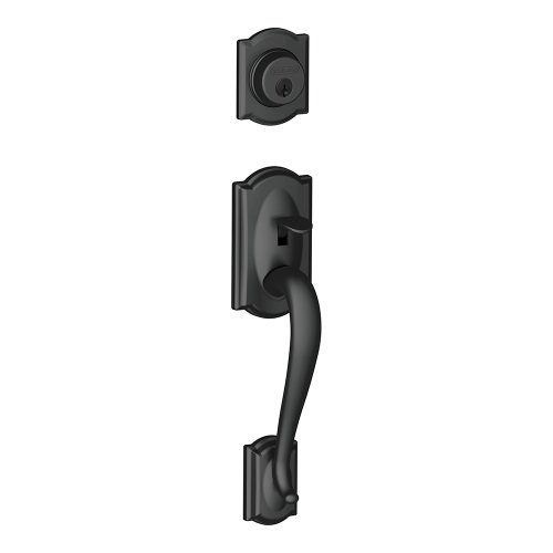Schlage F92-CAM Camelot Dummy Exterior Handleset from the F-Series, Matte Black