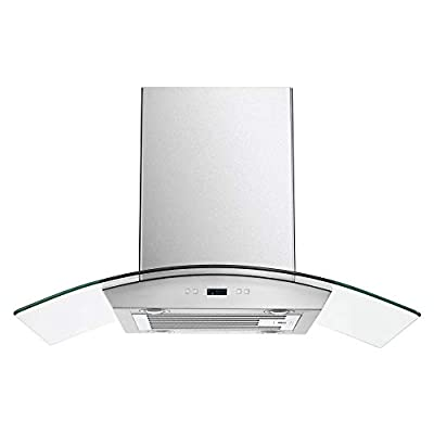 """CAVALIERE 36"""" Inch Glass Canopy Island Mounted Stainless Steel Kitchen Range Hood"""