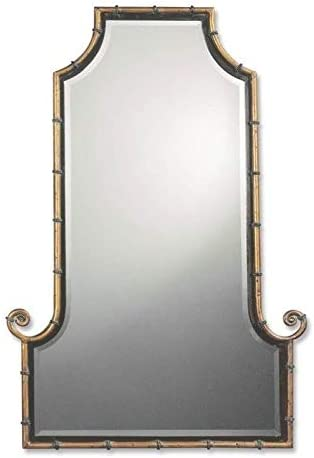 Uttermost Himalaya Iron Bamboo Mirror in Spotted Gold