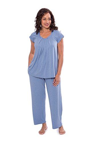 - Women's Pajama Set - Sleepwear Bamboo Pajamas for Women - Nightwear PJ Set, Heather Ice Blue, Large
