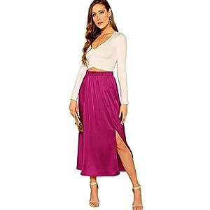 SheIn-falda-maxi-de-satn-liso-con-abertura-lateral-y-cintura-alta-para-mujer