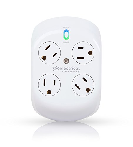 360 Electrical 36036-2CA6ES-AQU White 4 outlet surge protector,